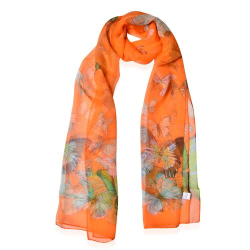 100% Mulberry Silk Blue, Green and Multi Colour Butterfly Pattern Orange Colour Scarf (Size 170x50 Cm)