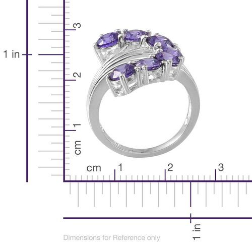 AAA Simulated Tanzanite (Rnd) 7 Stone Ring in Sterling Silver