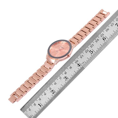 STRADA Japanese Movement White Austrian Crystal Studded Rose Gold Colour Dial Water Resistant Watch in Rose Gold Tone with Stainless Steel Back and Chain Strap