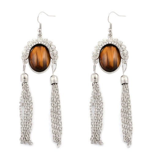 Tiger Eye and White Austrian Crystal Hook Earrings in Silver Tone 6.010 Ct.