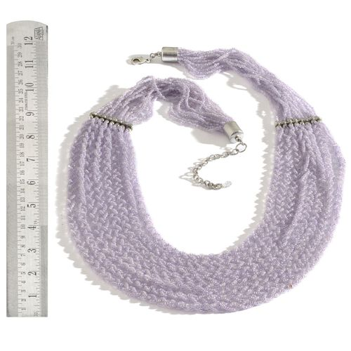 Purple Colour Seed Beaded 8 Strand Necklace with Lobster Lock (Size 30 with Extender)