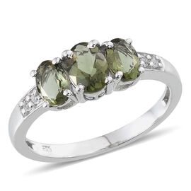Bohemian Moldavite (Ovl 0.75 Ct), White Topaz Ring in Platinum Overlay Sterling Silver 1.850 Ct.
