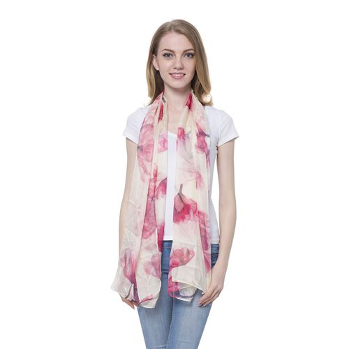 Cream and Red Colour Floral Pattern Scarf (Size 170 x70 Cm)