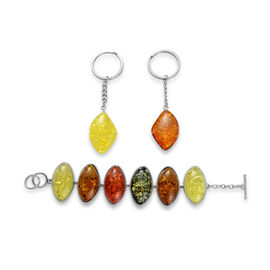 Simulated Amber 2 Key Chain and Bracelet (Size 7.5) Set in Silver Tone