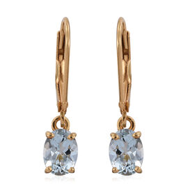 Espirito Santo Aquamarine (Ovl) Lever Back Earrings in 14K Gold Overlay Sterling Silver 1.500 Ct.