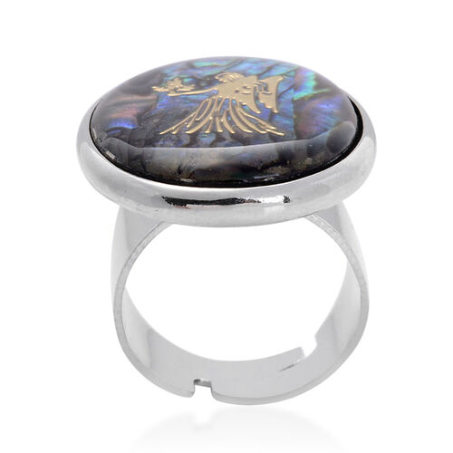 Abalone Shell Zodiac Virgo Adjustable Ring in Silver Tone 20.000 Ct.