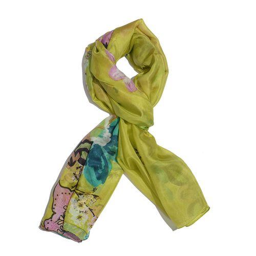 100% Mulberry Silk Multi Colour Floral Pattern Lime Colour Scarf (Size 180x100 Cm)