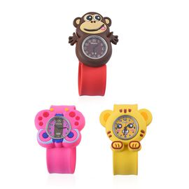 Set of 3 - STRADA Japanese Movement Water Resistant Monkey, Tiger and Butterfly Watch with Red, Yellow and Pink Silicone Strap