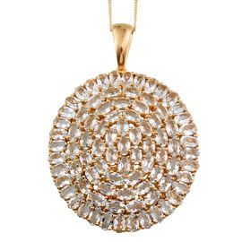 Espirito Santo Aquamarine (Ovl) Cluster Pendant With Chain in 14K Gold Overlay Sterling Silver 15.000 Ct.