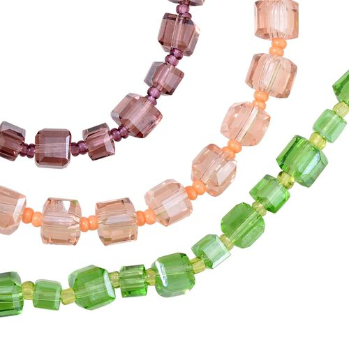 Set of 3 - Simulated Emerald, Simulated Rose Quartz and Simulated Amethyst Necklace (Size 36)
