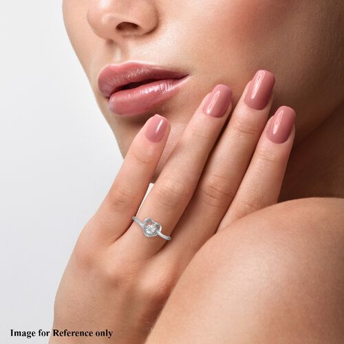 Diamond Promise Heart Silver Ring in Platinum Overlay