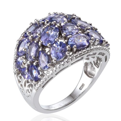 Tanzanite (Ovl) Ring in Platinum Overlay Sterling Silver 6.250 Ct.