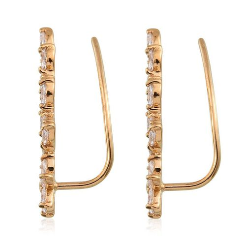 J Francis - 14K Gold Overlay Sterling Silver (Mrq) Climber Earrings Made with SWAROVSKI ZIRCONIA