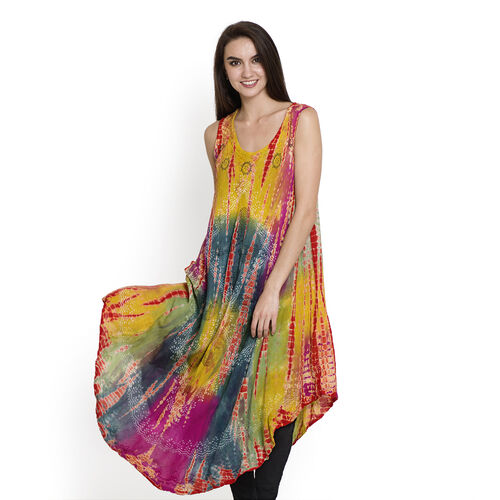 Summer Collection- Midi Length  Paisley Pattern Red, Yellow, Green and Multi Colour Dress (Free Size)