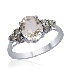 Green Sillimanite (Ovl 2.50 Ct), Green Sapphire Ring in Platinum Overlay Sterling Silver 3.000 Ct.