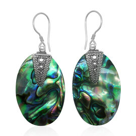 Royal Bali Collection Abalone Shell Hook Earrings in Sterling Silver 14.000 Ct.