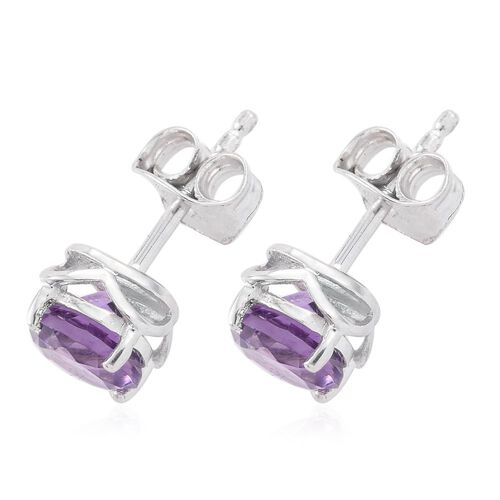 Amethyst 1.33 Ct Silver Solitaire Stud Earrings in Platinum Overlay