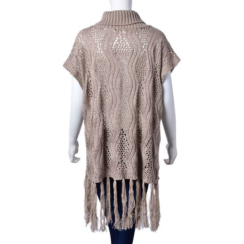 Light Coffee Colour Wavy Pattern High Neck Design Knitted Poncho with Tassels (Size 70x60 Cm)