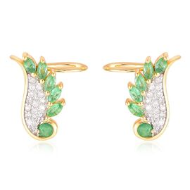 Brazilian Emerald (Rnd), White Zircon Angel Wings Earrings (with Push Back) in Yellow Gold Overlay Sterling Silver 1.250 Ct.