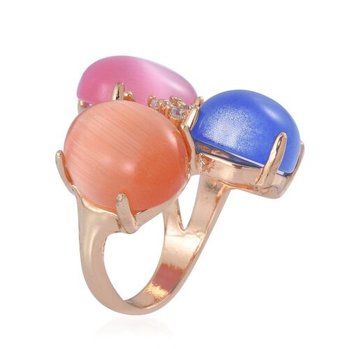 Simulated Multi Colour Cats Eye and White Austrian Crystal Ring in Gold Tone