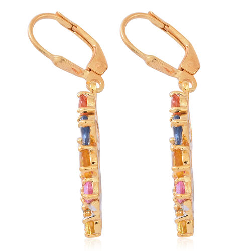 Yellow Sapphire (Pear), Green Sapphire, Pink Sapphire, Madagascar Blue Sapphire, Orange Sapphire, Red Sapphire and White Zircon Lever Back Earrings in 14K Gold Overlay Sterling Silver 6.250 Ct.
