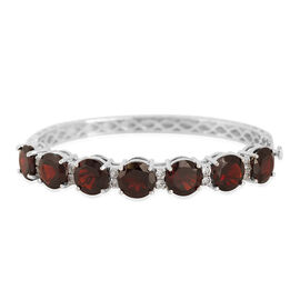 Mozambique Garnet (Rnd), White Topaz Bangle in Rhodium Plated Sterling Silver (Size 7.5) 27.000 Ct.