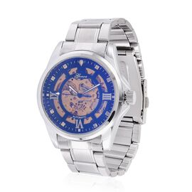 GENOA Automatic Skeleton Champagne Colour Austrian Crystal Studded Blue Dial Water Resistant Watch in Silver Tone with Stainless Steel Back and Chain Strap