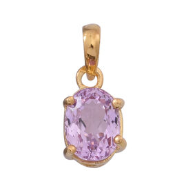 AAA Urucum Kunzite (Ovl) Solitaire Pendant in 14K Gold Overlay Sterling Silver 2.000 Ct.