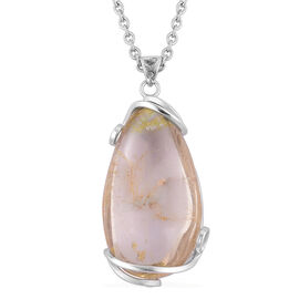 Natural Brazilian Rutile Quartz Pendant With Chain in Silver Tone with Stainless Steel 50.000 Ct.