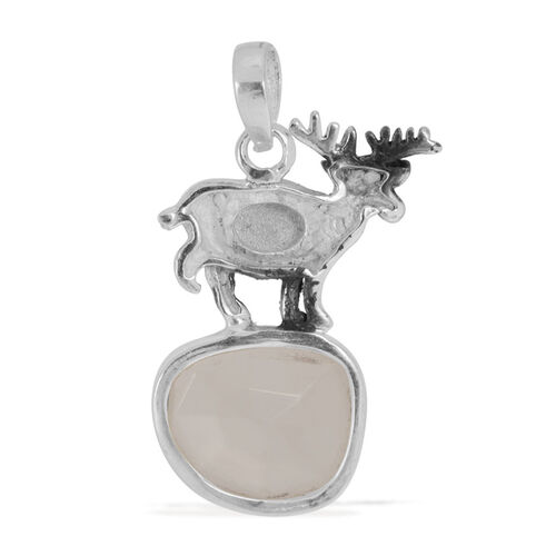 ARTISAN CRAFTED Reindeer Pendant with Sri Lankan White Moonstone in Sterling Silver 6.060 Ct.