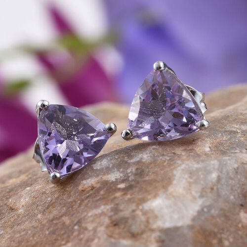 Rose De France Amethyst (Trl) Stud Earrings (with Push Back) in Platinum Overlay Sterling Silver 3.000 Ct.