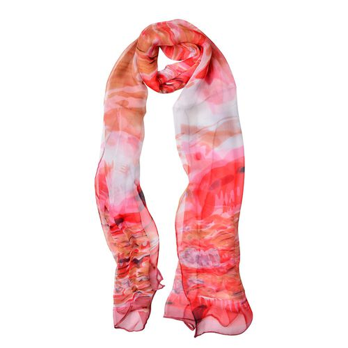 100% Mulberry Silk Red, White and Multi Colour Water Pattern Scarf (Size 170x50 Cm)