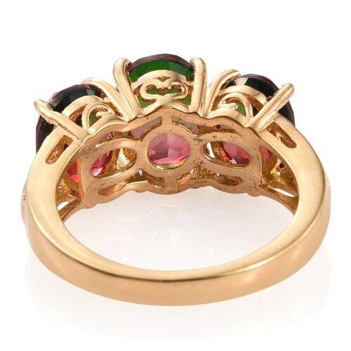 Bi-Color Tourmaline Quartz (Ovl 2.25 Ct) 3 Stone Ring in 14K Gold Overlay Sterling Silver 5.250 Ct.