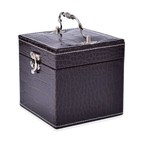 Dark Coffee Colour Croc Embossed 3 Layer Small Size Jewellery Box with Mirror inside (Size 12x12x12 Cm)