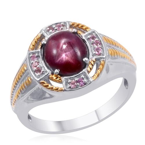 Designer Collection Star Ruby (Ovl 7.00 Ct), Mahenge Pink Spinel Ring in 14K YG and Platinum Overlay Sterling Silver 7.200 Ct.