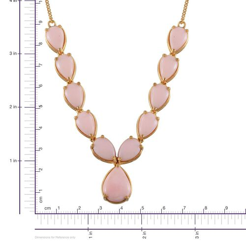 Peruvian Pink Opal (Pear 5.25 Ct) Necklace (Size 18) in 14K Gold Overlay Sterling Silver 26.000 Ct.