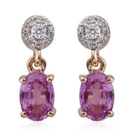 ILIANA 18K Yellow Gold 1.89 Ct AAA Pink Sapphire Earrings with Diamond (SI/G-H) Screw Back
