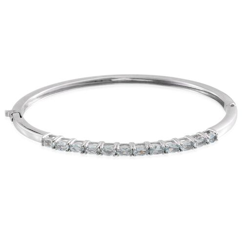 Espirito Santo Aquamarine (Ovl) Bangle (Size 7.5) in ION Plated Platinum Bond 2.500 Ct.
