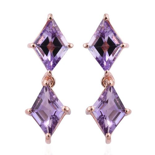 Rose De France Amethyst Earrings in Rose Overlay Sterling Silver 3.250 Ct.