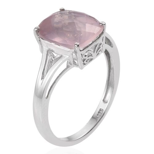 Rose Quartz (Cush) Solitaire Ring in Platinum Overlay Sterling Silver 6.000 Ct.
