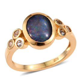 Australian Boulder Opal (Ovl 1.75 Ct), White Topaz Ring in 14K Gold Overlay Sterling Silver 2.000 Ct.