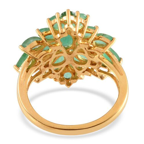 Kagem Zambian Emerald (Ovl) Cluster Ring in 14K Gold Overlay Sterling Silver 2.750 Ct.