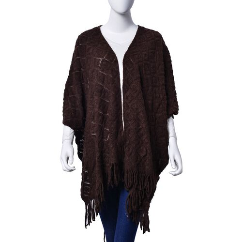Checks Pattern Chocolate Colour Kimono with Tassels (Size 95x75 Cm)