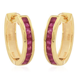 Burmese Ruby (Sqr) Hoop Earrings (with Clasp) in 14K Gold Overlay Sterling Silver 1.000 Ct.