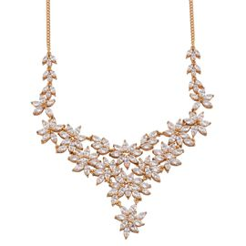 J Francis - 14K Gold Overlay Sterling Silver (Mrq) Necklace (Size 18) Made with SWAROVSKI ZIRCONIA