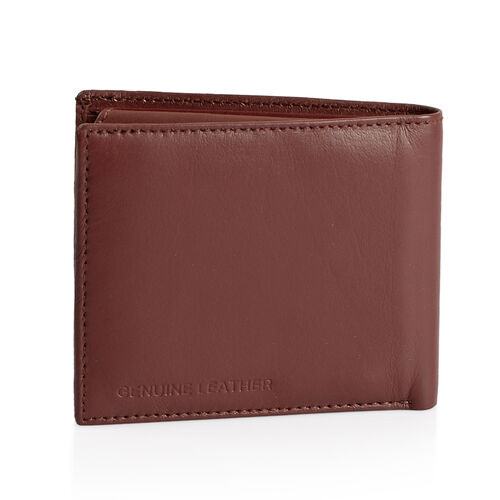 Genuine Leather Burgundy Colour RFID Bi-Fold Men Wallet with Card Holder (Size 11x9 Cm)