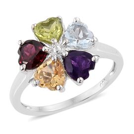 Rhodolite Garnet (Hrt), Sky Blue Topaz, Hebei Peridot, Amethyst and Citrine Flower Ring in Platinum Overlay Sterling Silver 2.250 Ct.