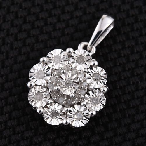 Diamond (Rnd) Pendant in Platinum Overlay Sterling Silver 0.200 Ct.