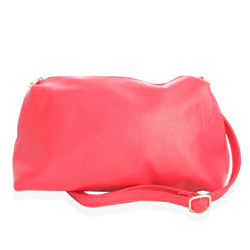 Set of 2 - Red Colour Large (Size 40x26x17 Cm) and Small with Adjustable and Removable Shoulder Strap (Size 20x38 Cm) Handbag
