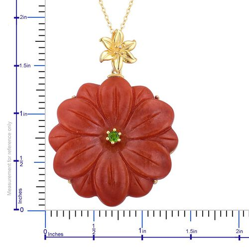 Red Jade and Russian Diopside Floral Pendant With Chain in Yellow Gold Overlay Sterling Silver 56.900 Ct.
